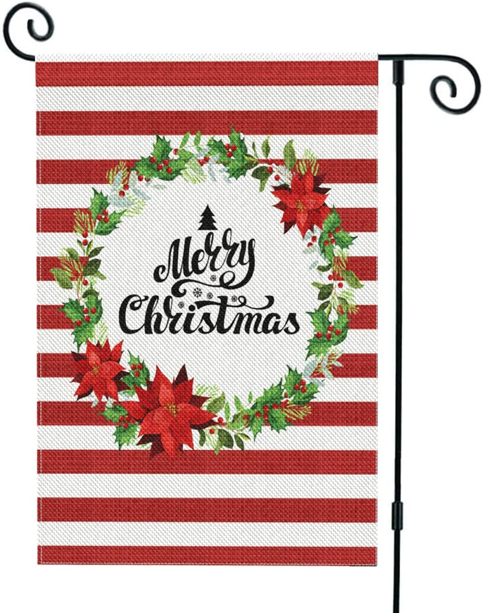 Rose Lake Merry Christmas Garden Flag Burlap Vertical Double Sided Christmas Yard Flag Winter Holiday Christmas Yard Outdoor Indoor Xmas Decoration 12.5x18Inch (Red Stripes)