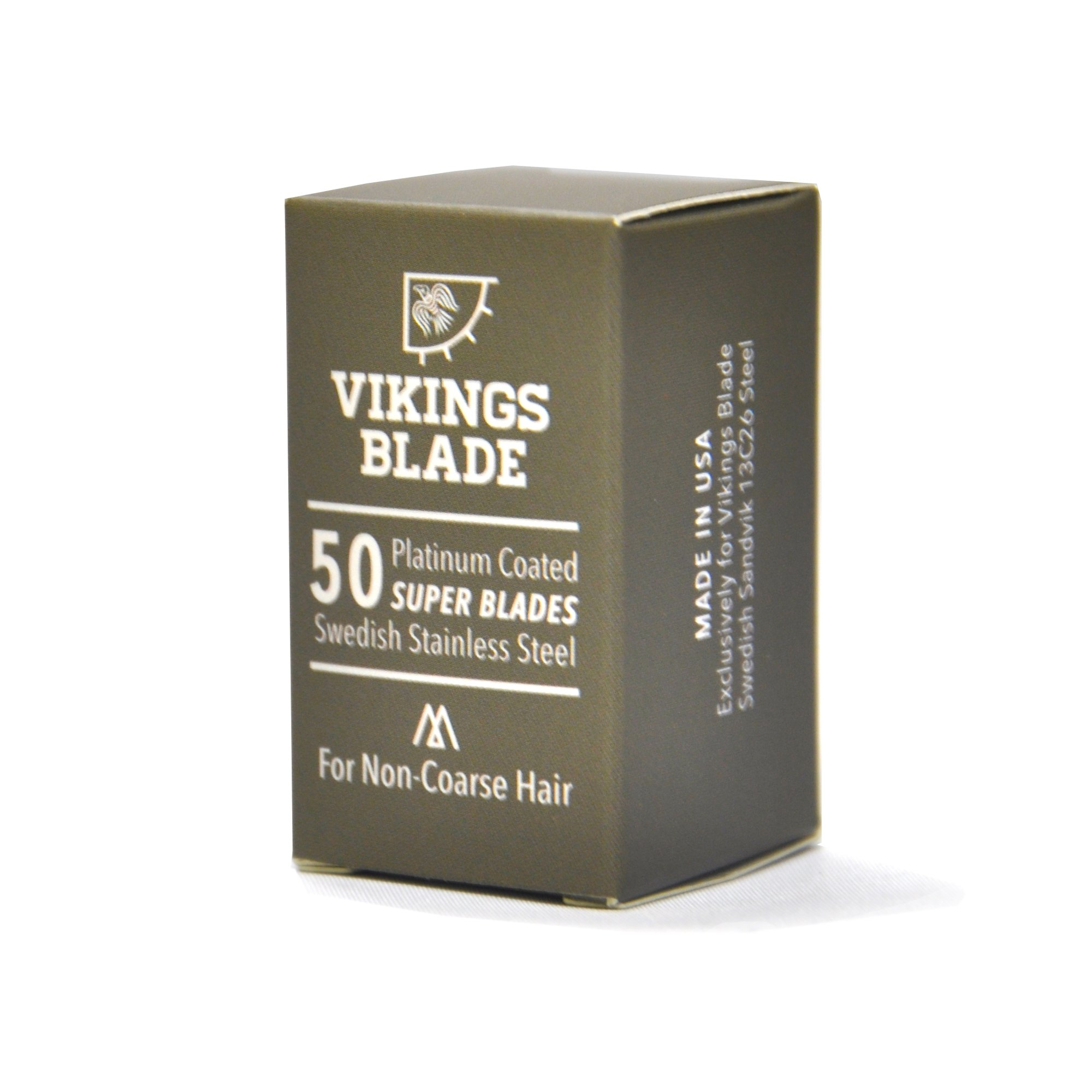 VIKINGS BLADE Swedish Steel Replacement Razor Blades, 50 Count (9 to 12 months supply), Mild & Safe