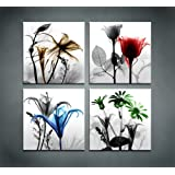 Amazon Price History for:4 Panels Huge Modern Giclee Prints Artwork Multi Flowers Pictures Canvas Wall Art for Home Walls Decor Stretched and Framed Ready to Hang
