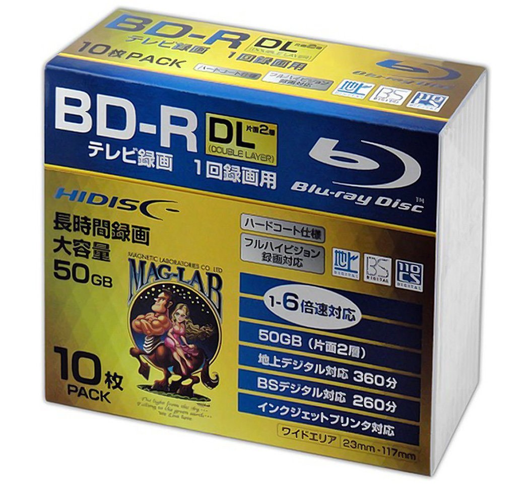 10 Hi-Disc Bluray BD-R DL 50GB Inkjet Printable 6x Speed Professional Use No Logo HDBDRDL260RP10SC
