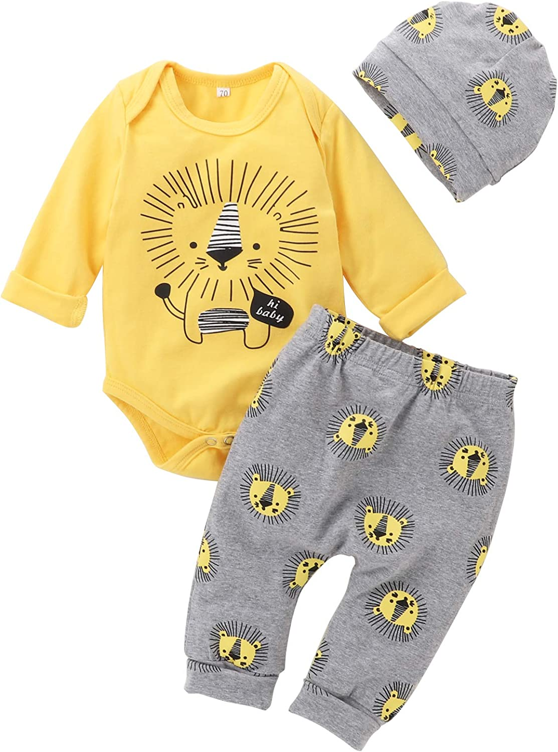 Newborn Baby Boy Clothes Little Lion Print Romper+Pants+Hat Newborn Boy Outfits Set(0-12 Months)
