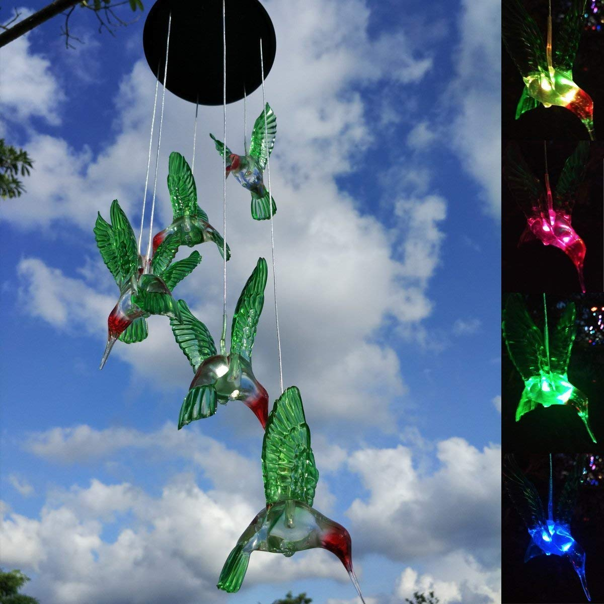 Goodtechnical Color-Changing LED Solar Mobile Wind Chime LED Changing Light Color Waterproof Six Hummingbird Wind Chimes for Home Party Night Garden Decoration (Black)