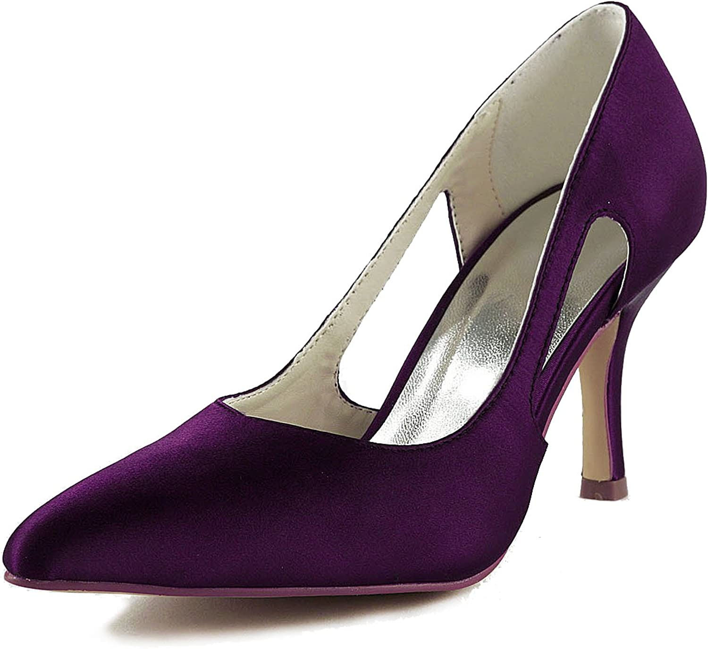 Jia Jia Bridal A316 Satinado Bajo talón Zapatos de Boda Cerrados de Fiesta de Baile Cerrado Bombas de Mujer Color Morado,Tamaño 42