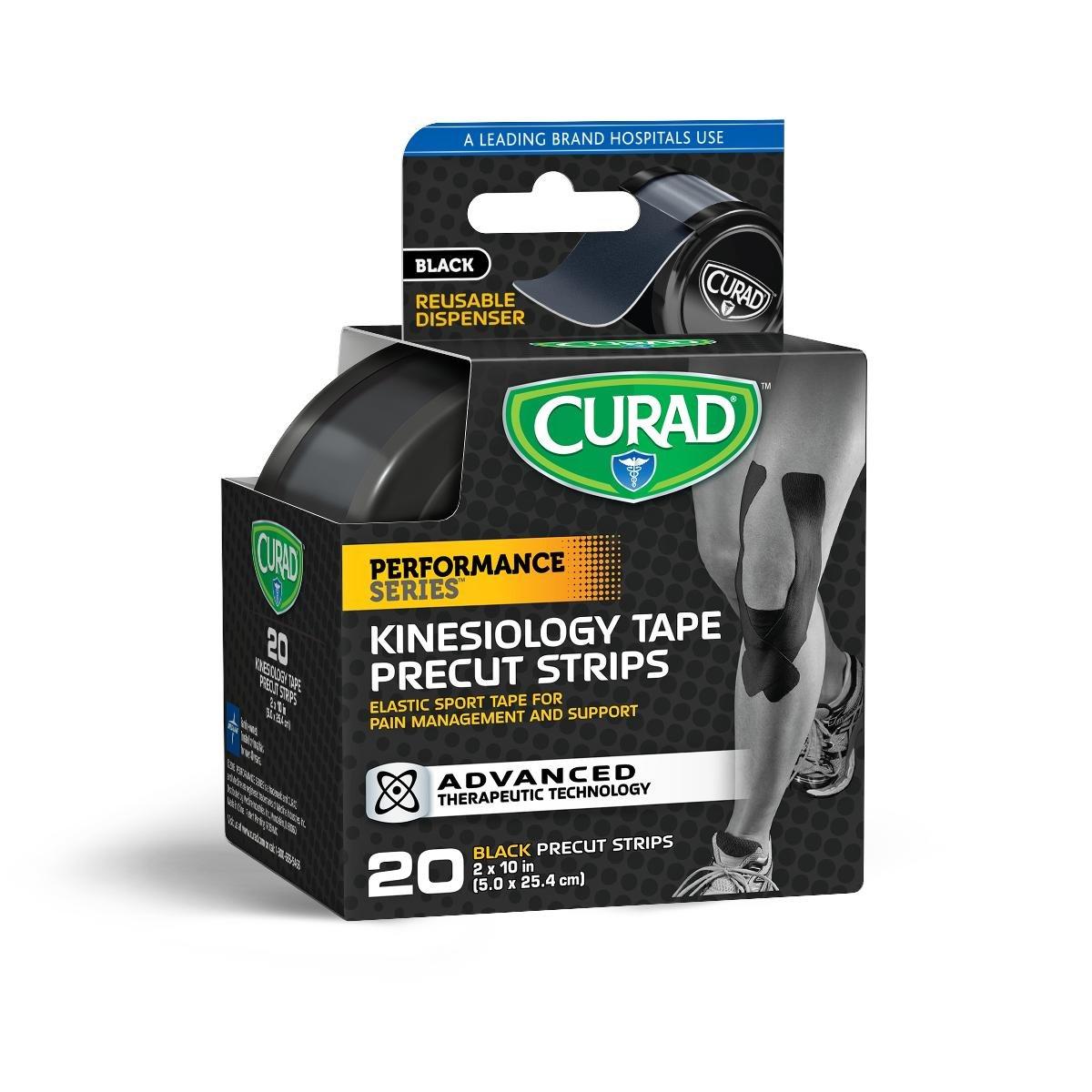 Performance Series Kinesiology Tape, 20 Precut Strips 2''X10'' (Black)