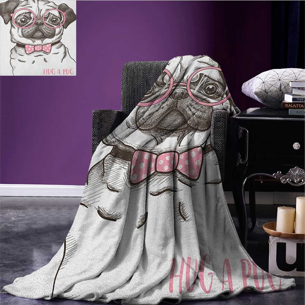 Pug waterproof blanket Cute Pet Dog with Pink Bow Tie Oversized Glasses Hand Drawn Domesticated plush blanket Brown Pale Pink White size:51''x31.5''