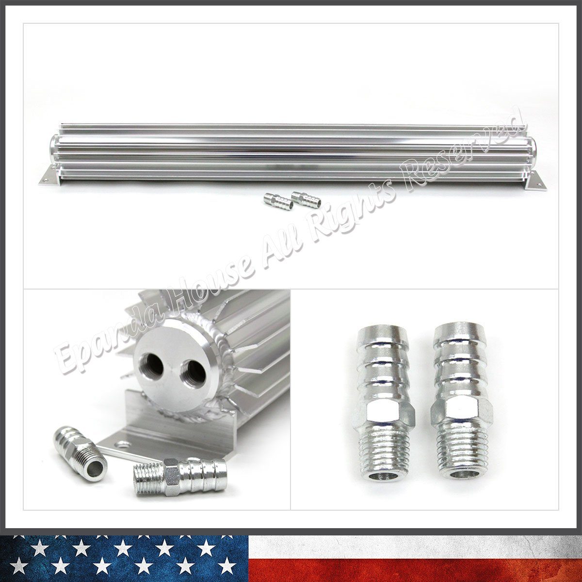 Barb Fittings 24 Hot Rod Finned Aluminum Dual Pass Transmission Cooler Silver