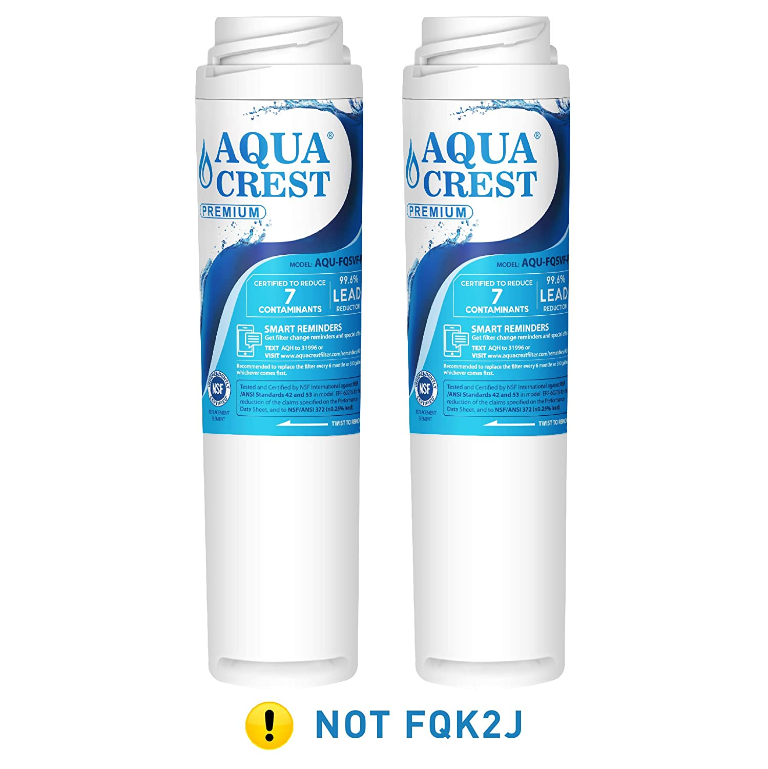 AQUACREST FQSVF NSF 53 Certified to Reduce 99% Lead and More, Compatible with GE FQSVF, GXSV65R (1 Set)