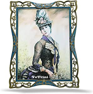 YeTrini Vintage Picture Frames 8x10 Fancy Metal Photo Frames of High Definition Glass for Desktop,Elegant European Retro Style,Horizontal or Vertical Display,Perfect for Wedding,Offices(Blue)