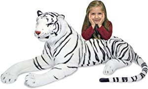"""Melissa & Doug White Tiger Giant Stuffed Animal (Wildlife, Soft Fabric, Beautiful Tiger Markings, 20"""" H x 65"""" L x 20"""" W, Great Gift for Girls and Boys - Best for 3, 4, 5 Year Olds and Up)"""