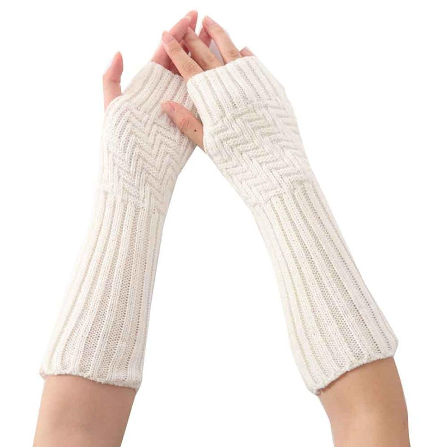 Kingko® Fashion Women's Serpentine Knitted Arm Sleeve Fingerless Winter Gloves Soft Warm Mitten