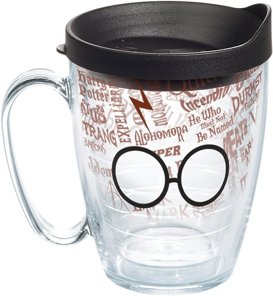 Tervis Harry Potter - Glasses and Scar Insulated Tumbler with Wrap and Black Lid, 16 oz Mug - Tritan, Clear