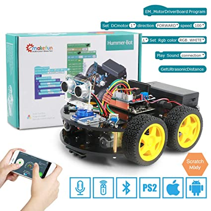 4WD Smart Robot Car Kit for Arduino with Ble UNO R3, with PS2 Port, Support  IOS/Android,Scratch,Wifi,Voice,Bluetooth,Remote,Control, Cool