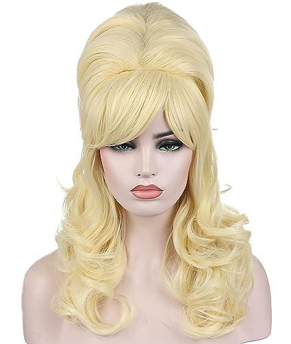 Kalyss moda encantadora larga pelucas onduladas rubias peluca colmena peluca de fibra sintética a prueba de