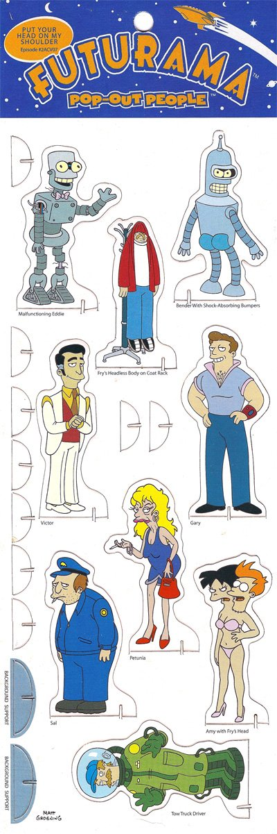 PUT YOUR HEAD ON MY SHOULDER Episode 2ACV07 Futurama POP-OUT PEOPLE Characters /& Background Set from Dark Horse Comics