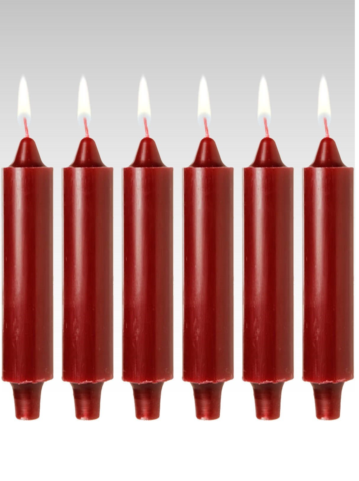 Candles4Less - 9 inch Burgundy Club Candles (Set of 6) Dripless and Smokeless Burgundy Club Candles with Lead Free Cotton Wicks Made in USA