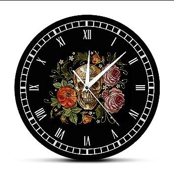 Cyalla Cráneo Tatuado Rosas Reloj De Pared Muerte Mal Matar Asesino Tatuaje Humano Cuerpo Esqueleto Hueso