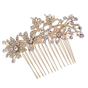 PROHAIR Hair Combs Trendy Plated Plant Rhinestone Hair Comb Bridal Women Wedding Accessories