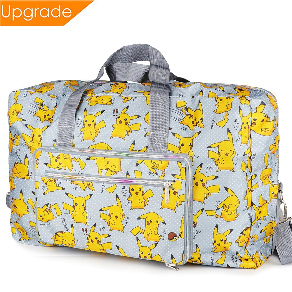 Women Foldable Large Travel Duffel Bag Waterproof Tote Weekender Nylon Overnight Handbag with Detachable Shoulder Straps