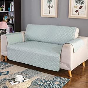 YEARLY Waterproof Sofa Cover, Reversible Quilted Furniture Protector Slipcover Sofa Couch Covers Anti-Slip Pet Cover, Kids,Children-Green Loveseats 46x75inch