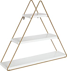 Kate and Laurel Tilde Small Three Tiered Triangle Floating Metal Wall Shelf, White and Gold