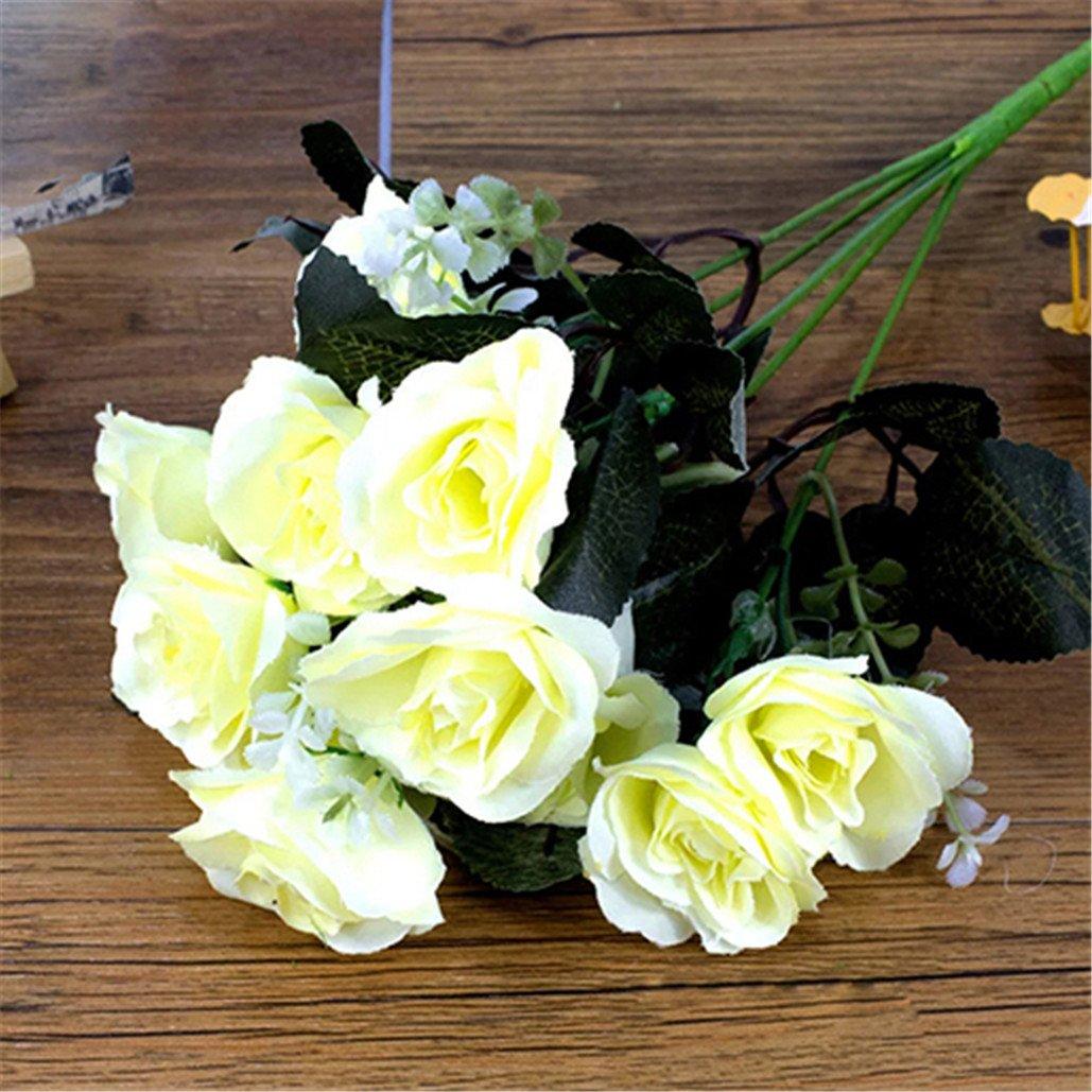 super1798 1ブーケ12heads部屋装飾ロマンチック人工ローズ花 ホワイト 15773 B07BRSKJ6X ホワイト