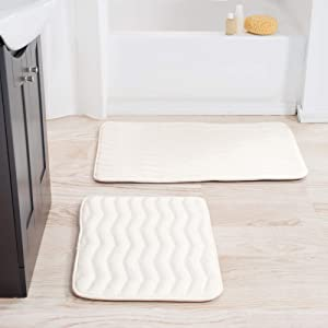 Lavish Home 2-Piece Memory Foam Bath Mat Set- Off-White