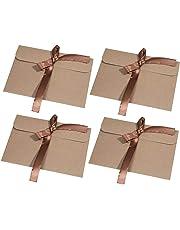 30 pezzi Busta Kraft Busta di carta MOOKLIN Kraft riciclata Buste di Retro Carta Fatti a Mano in stile Vintage per Matrimonio Compleanno (17.2 x 12.5 cm) - Nastro marrone