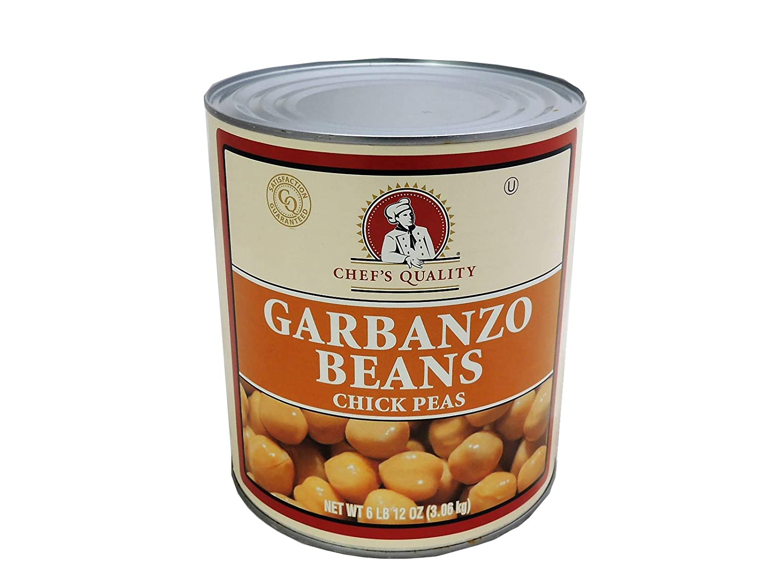 Garbanzo Beans, Chick Peas, Salad Beans Chefs Quality, Number #10 Can, 6Lbs 12OZ, Bulk