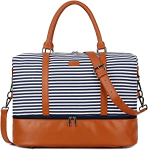 BAOSHA HB-28 Ladies Women Canvas Travel Weekender Bag Overnight Carry-on Duffel Tote Bag (Blue Strips with Shoe Compartment)