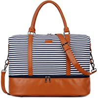 BAOSHA HB-28 Ladies Women Canvas Travel Weekender Overnight Carry-on Shoulder Duffel Tote Bag With PU Leather Strap (Blue Strips with Shoe Compartment)