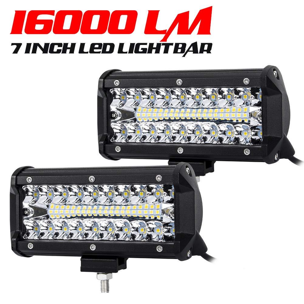 7 Inch LED Pods Spot Flood Combo Beam Liteway 16000 LM Triple Row Light Bar Off Road Driving Led Work Lights for UTV ATV Jeep Truck Boat Waterproof 2 Pack LED Light Bars