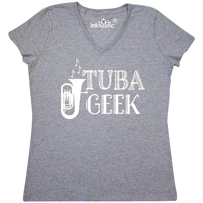 e54f6d9b inktastic - Tuba Geek Women's V-Neck T-Shirt Small Athletic Heather 34d65