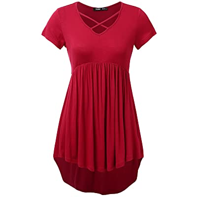 JayJay Women Casual Button Down Henley Neck Pleated Front A Line Flare Shirt Top