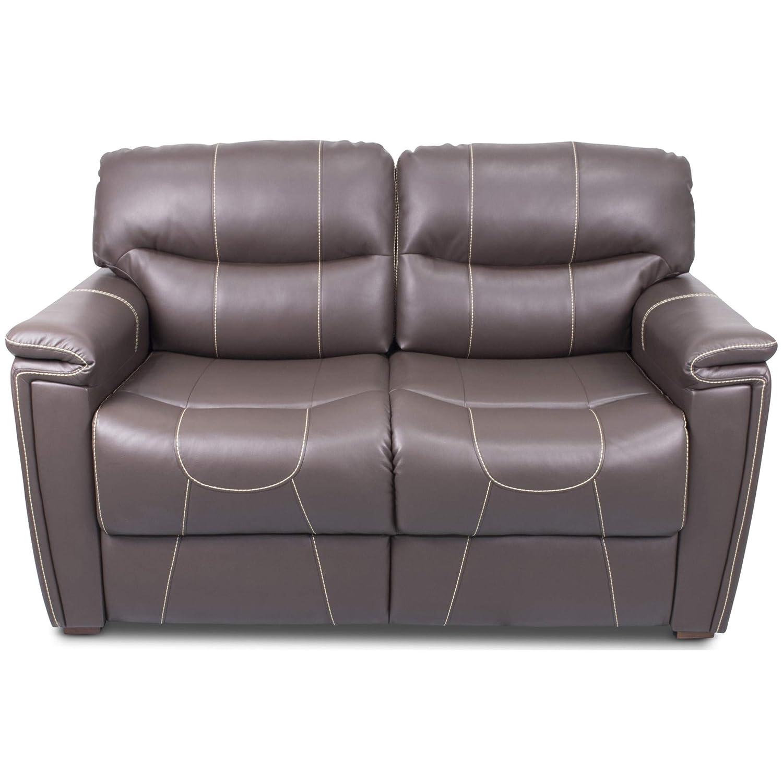 Thomas Payne 377708 Majestic Chocolate 68 Tri-Fold RV Sleeper Sofa with Tan Topstitch and 53 x 72 x 19 Sleeping Surface