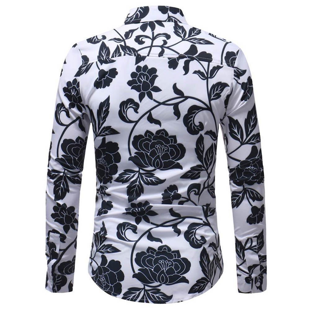 iLXHD Man Fashion Printed Blouse Casual Long Sleeve Slim Shirts Tops (2XL, Multicolor 9) by iLXHD (Image #3)