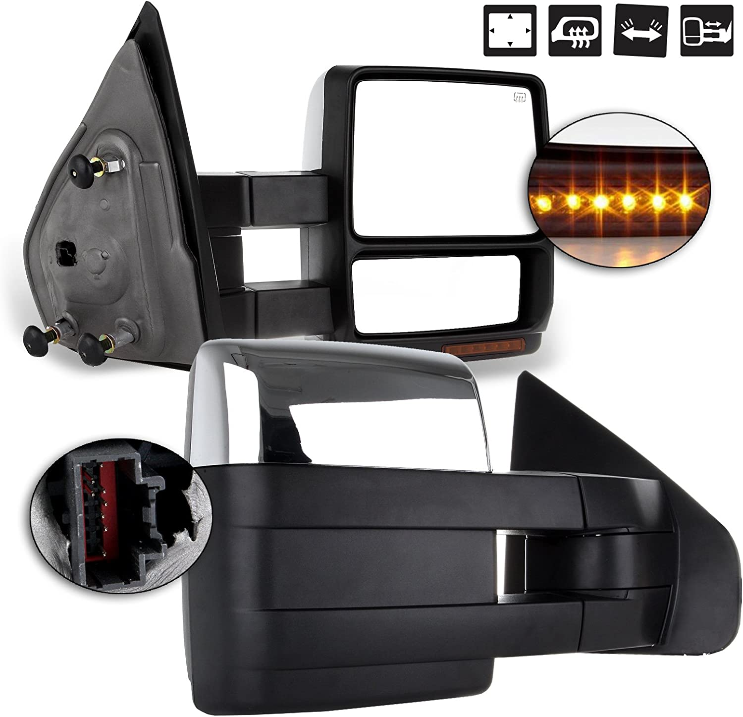 LSAILON Towing Mirrors Fit for 2004-2014 Ford F150 1997-1999 Ford F-250 Tow Mirrors with LH Side and RH Side Power Operation Heated Turn Signal Puddle Light Chrome Housing
