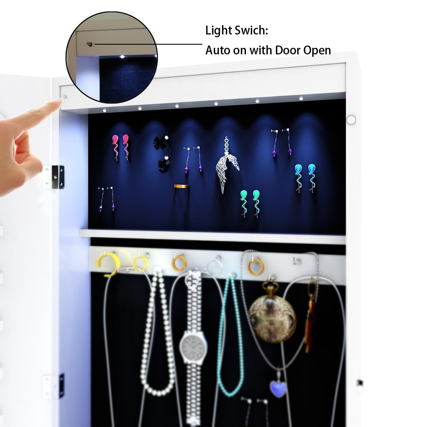 Elever Space Save Jewelry Cabinet - Large Storage Capacity- Lockable White Jewelry Armoire W/ Key - LED Jewelry Holder Organizer Wall Door Mount by Elever (Image #6)