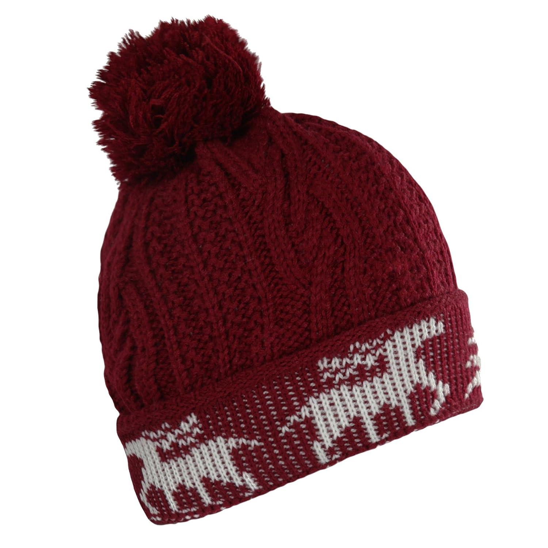 Damen/Mädchen, gestrickt, grob, Zopfmuster, Warm Up Turn Winter Ski Mütze mit Bommel, In 4 Farben erhältlich