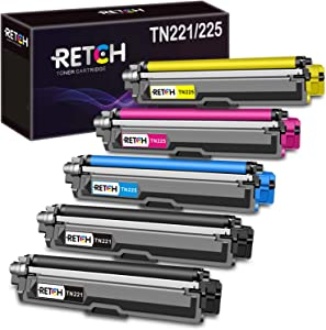 RETCH Compatible Toner Cartridge Replacement for Brother TN221 TN225 for Brother MFC-9130CW HL-3170CDW HL-3180CDW MFC-9330CDW MFC-9340CDW MFC-9342CDW Printer (2 Black 1 Cyan 1 Yellow 1 Magenta)