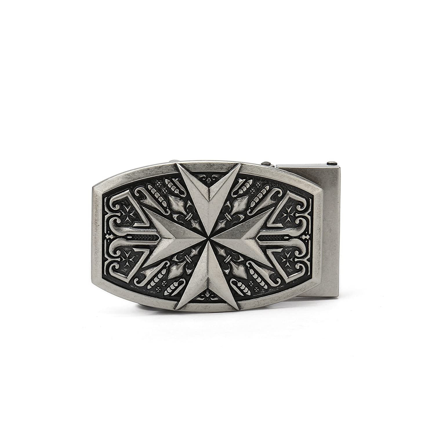 Gurscour Mens Western Arrow Ratchet Automatical Belt Buckle Retro Silver