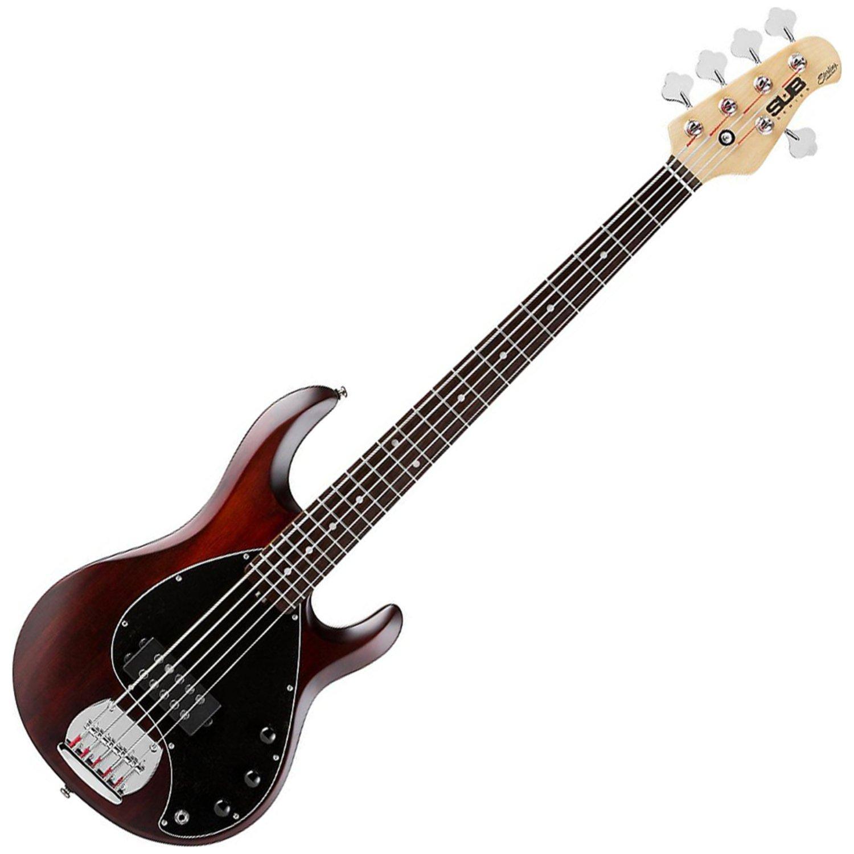 Sterling by Music Man S.U.B. Series Ray5 StingRay Bass, 5-String, Walnut Satin