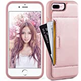 iphone 8 Plus Wallet Case , iphone 8 Plus / 7 Plus Case with Card Holder, ZVE Apple iphone 7 / 8 Plus Case with Credit Card Leather Wallet Case For Apple iphone 7 Plus / 8 Plus 2017 - Rose Gold