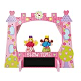 Luxury Kids Puppet Theatre and Two Finger Puppets Set (Beautiful Enchanted Castle Wooden Puppet Theatre) Lucy Locket
