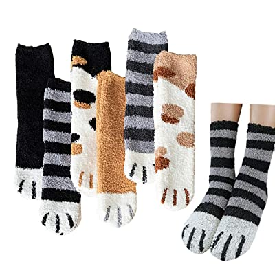Cat Claw Fuzzy Sock for Women Plush Feet Cozy Sleeping Socks Cute Winter Home Slipper Socks 6 Pack (Animal Paw (6 pairs)) at Women's Clothing store