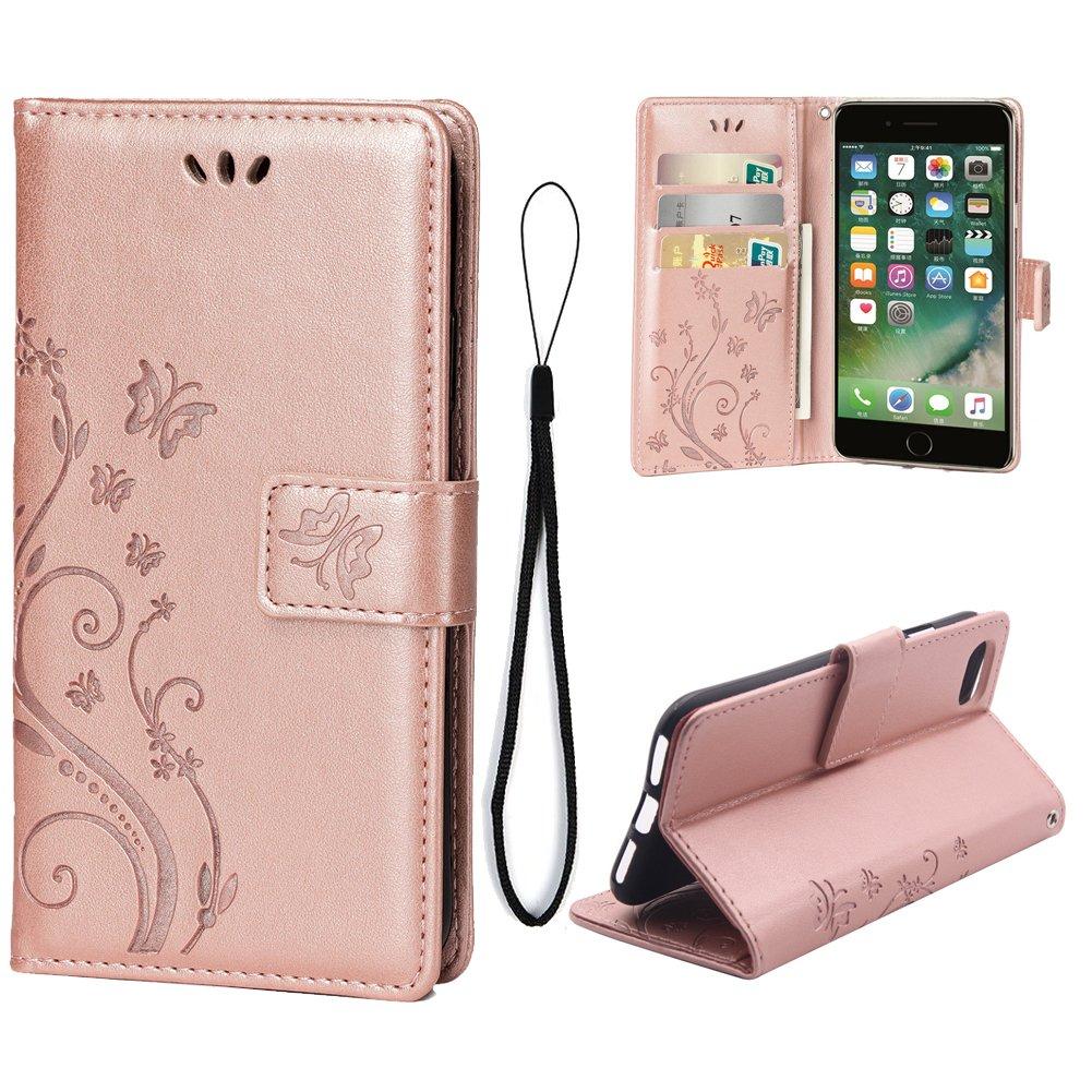 iPhone 7 / 8,3用カードケースPuレザーマグネットフリップカバーiPhone 7/8用ウォレットケース(ローズゴールド)   B07BNCZQGS