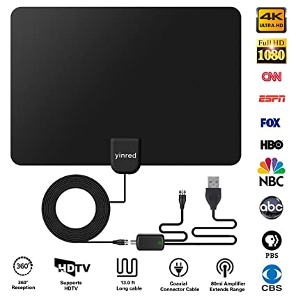 HDTV Antenna, Indoor HD Digital TV Antenna, 150 Miles Range with Detachable Amplifier Signal
