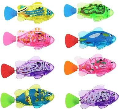 Bathtub Tub Tipmant Cute Electronic Fish Animal Pet Baby Toddler Bath Toy with Flashing Light Swim in Water Tank 4 Pack Swimming Pool Kids Gift