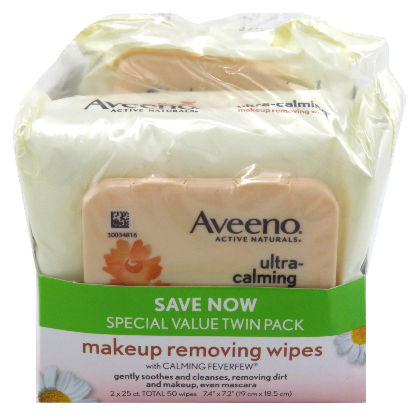 Aveeno Make-Up Remover Wipes 25 Count (TWIN PACK) Ultra Calming (2 Pack)