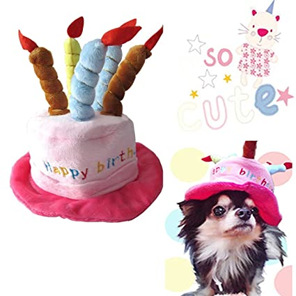 Universal Dog Birthday Hats Gift With Cake And Candles For Puppy Small Cats Dogs Pink