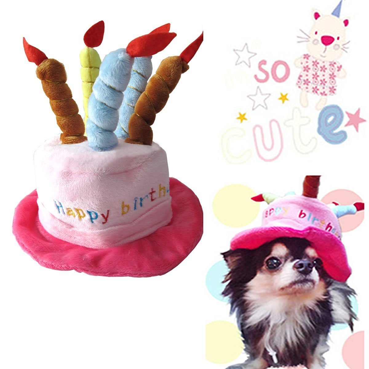 Universal Dog Birthday Hats Gift With Cake and Candles for Puppy Small Cats Dogs, Pink